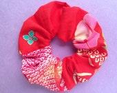 Japanese Kimono fabric Scrunchie - 2 different fabric shibori+yukata -a-