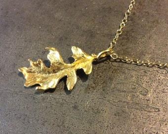 Handforged 18k Gold Oak Leaf Pendant or Charm