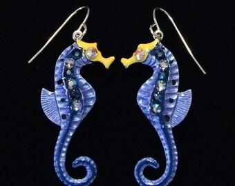 Seahorse Earrings Fun Hand Painted in Pearl Denim  Blue and Navy