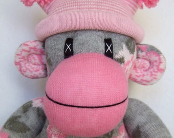 Pretty Rose Sock Monkey with striped pom pom hat (made to order)
