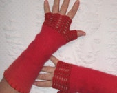 Fingerless Gloves . LOVE gloves . red fingerless wool gloves . made from recycled Sweaters .  301