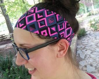 Headband - Yoga Headband - Athletic Headband - Sporty Headband - Spandex - Wide - Black - Gray - Hotpink - Activewear Headband