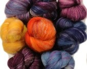 Lunar Eclipse -- mini batts (2.2 oz.) organic polwarth wool, soysilk, camel, silk.