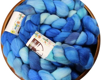 Great Barrier Reef - hand-dyed Merino wool and silk (4 oz.) painted combed top