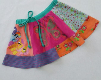 Size 5T (43 3/4  inch height) upcycled thirts panel twirl skirt butterfly