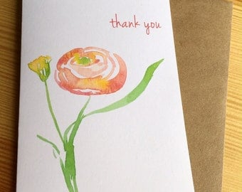 Orange Ranunculus Watercolor Thank You Note Cards - Floral Thank You Cards - Abstract Botanical Note Cards - Set of 6