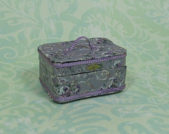 Dollhouse Miniature Violet/Purple Floral Train/Travel Case