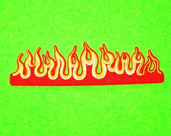 BACK IN STOCK - Hot Rod Flames Retro Kitsch Fire Greaser Rockabilly Fully Embroidered Iron or Sew On Patch