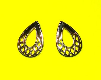 Vintage 1980s Silver and Black Enamel Drop Earrings
