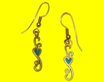 Vintage 1980s Pewter and Turquoise Heart Dangle Drop Earrings