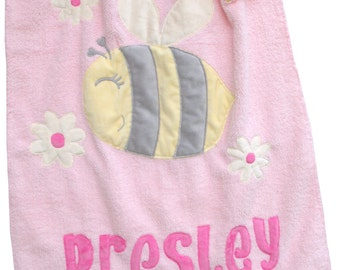 Personalized Bumble Bee Pink and Gold Baby Blanket