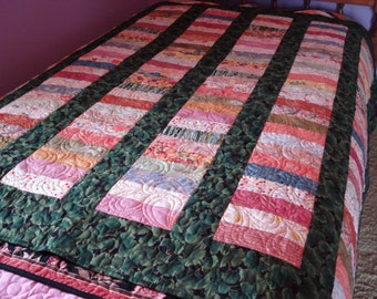 Handmade Lap Quilt in Soft Pastel Asian prints with Green Gingko Sashing using traditional Chinese Coin Pattern