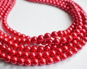 The Michelle- Rosy Red Glass Pearl Necklace