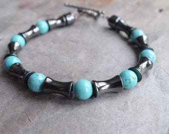 The Colton- Hematite and Turquoise Men's Bracelet