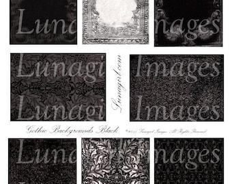 Black GOTHIC Backgrounds Digital Collage Sheet, ATC vintage images Victorian frames, Dark gray spooky elegant steampunk Halloween DOWNLOAD