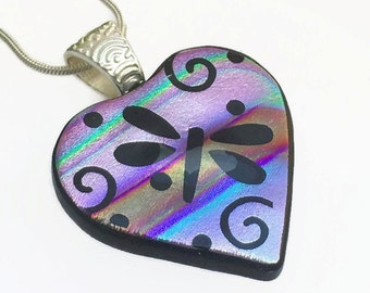 Dragonfly Swirl Pendant, Fused Glass Pendant, Dichroic Glass, Pendant, Etched Glass