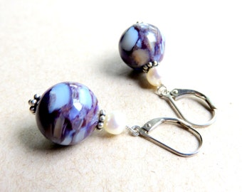 Mother of Pearl Drop Earrings - Purple Ball Dangle Earrings - Sterling Silver and Pearl Earrings - Nautical Earrings with Freshwater Pearls