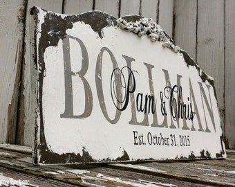 CUSTOM NAME SIGN, Personalized Name Sign, Vintage Wedding Sign, Vintage Name Sign, Established Sign, Shabby Chic Painted Sign