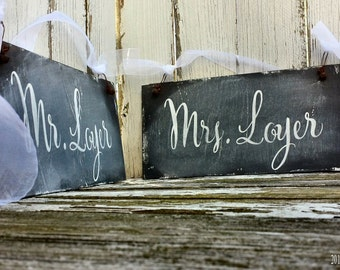 Mr and Mrs Wedding Signs | Chair Signs | Personalized with Bride and Grooms Name | Double Sided Chalkboard Signs | Barn Wedding Decor | Chic