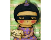 Pumpkin witch #3 - A Halloween mixed media painting print handmade by Danita Art, whimsical girl mounted on wood or frameable paper print
