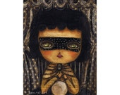 Carnival Fortune teller witch crystal ball - Halloween mixed media painting print Danita Art, whimsical art on wood or frameable paper print