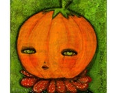 Jack-o-lantern pumpkin head boy -  Halloween mixed media painting print Danita Art, whimsical art on wood or frameable paper print