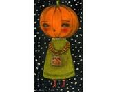 Jack-O-Lantern pumpkin girl - Halloween mixed media painting print Danita Art, whimsical art on wood or frameable paper print