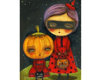 Trick Or Treating Pumpkin and Witch Kids -  Halloween mixed media painting print Danita Art, whimsical art on wood or frameable paper print