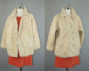 Vtg 90s GAP Off White /Cream Faux fur Plush kids coat women jacket sz M