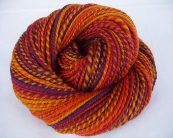 Handspun merino yarn, bulky yarn, chunky yarn, self striping yarn, dolls hair, purple, amber, burnt orange, AUTUMN SPIRIT, 4.1oz, 130yds