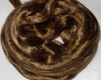 Mulberry silk spinning fiber, BRONZE, felting fiber, dolls hair, silk roving, silk top, nuno felting fiber, wet felting fiber,  20g, 0.7oz