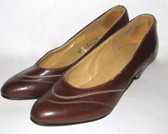 Vintage Womens Shoes- Brown Leather Shoe- Leather HEELS- Size 6.5 Shoe- Ladies Pumps- 1950s High Heels- Unique Birthday Gift for Her- 50s