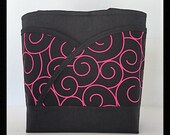 pink tote bag black handbag pink handbag black tote bag pink purse black purse Pink womens purse, pink womens tote bag, pink scrolls