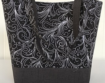 Black and white pearl paisley large handbag tote bag tote purse 3 interior pockets gift for women her girlfriend  girl aunt  sister (220)