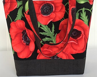 Red poppies large handbag tote bag tote purse 3 interior pockets gift for  women her girlfriend  girl aunt  sister  (222)