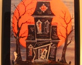 Haunted House Halloween Tile Coaster