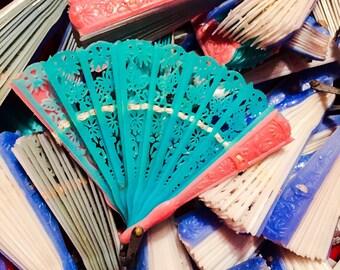 2pcs VINTAGE DOLL FAN Tiny Folding Plastic