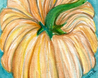 White Pumpkin watercolor painting, vegetable kitchen decor, small original Farmhouse deco 4 x 6, Farmhouse decor