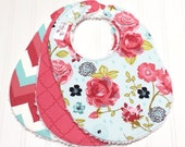 Baby Bibs for Baby Girl -  Chenille Triple Layer Design  -  Set of 3  -  Vintage Roses, Coral Quatrefoil & Vintage Chevron