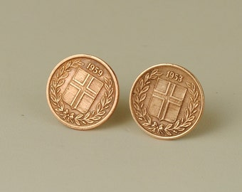 Iceland Coin Stud Earrings 1953 and 1959