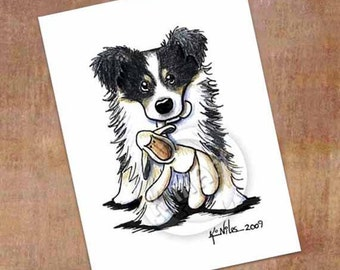 KiniArt Border Collie Dog With Lamb Toy Signed Art PRINT