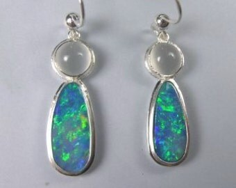 Australian opal earrings in Argentium silver
