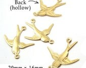 Four (4) Brass Sparrow Charms, Golden Raw Brass, Brass Birds, Two-Ring Connectors, Links, Nature Charms, 20x16mm, Hollow Back, TWO Pairs