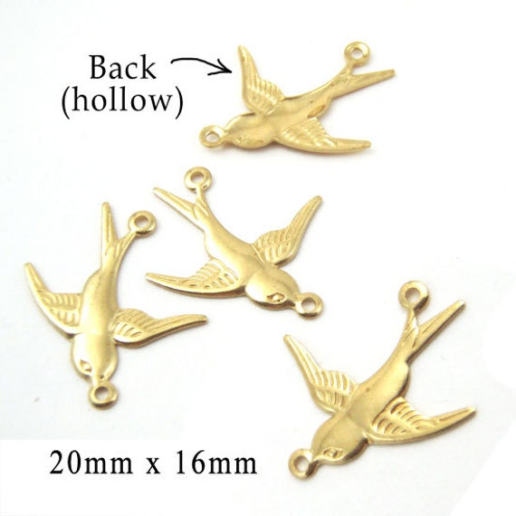 golden raw brass sparrow connector charms