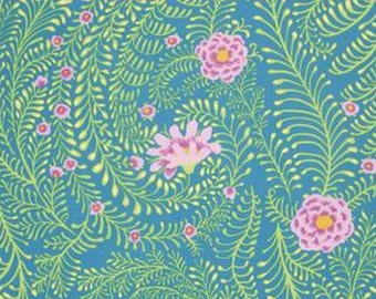 FERNS in TURQUOISE  by Kaffe Fassett fabric 1/2 yard of PWGP147 Spring 2015 Westminster Fabric Cotton, Quilt Craft and Apparrell fabric
