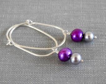 Pearl Earrings, Purple Pearls, Grey Pearls, Sterling Silver, Hoop Earrings, Silver Earrings, Dangle Earrings, Silver Jewelry,