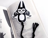 Art Bookmark - Flying Batcat with Black Yarn Tail - Laminated and uniquely shaped 2015 updated design