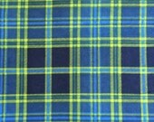 Blue and Lime Green Plaid - Weighted Lap Pad - Choose your weight and minky color - special needs -  flannel