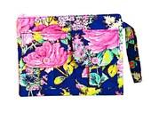 Fabric Wallet Wristlet, Cell Phone Wristlet, Blue Wristlet Purse, Large Wristlet, Ladies Wallet Purse, Wrist Wallet