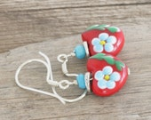 Lampwork HEART Genuine Turquoise Sterling and Hill Tribe Silver Dangle Artisan Earrings // Natural Gems // luluglitterbug